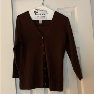 Brown cardigan and sweater combo